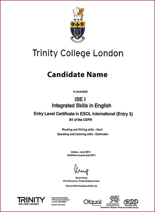 Ejemplo de Certificado de examen B1